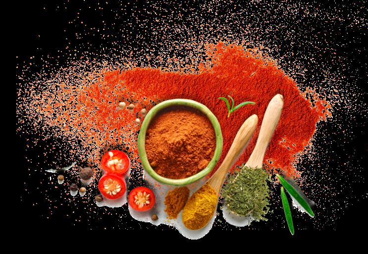 mélange epices piments curry cuillères bois