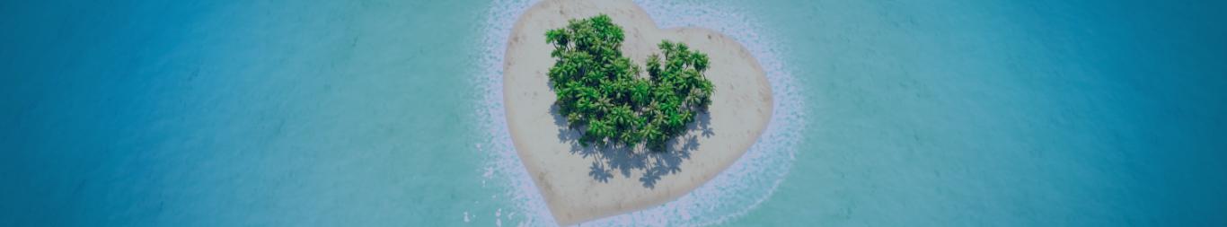 En tête île en forme de coeur et met turquoise page origine du créole