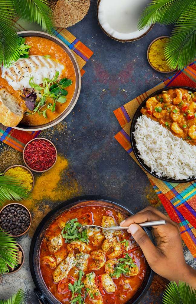 image vue de haut des produits et plats de la gastronomie créole
