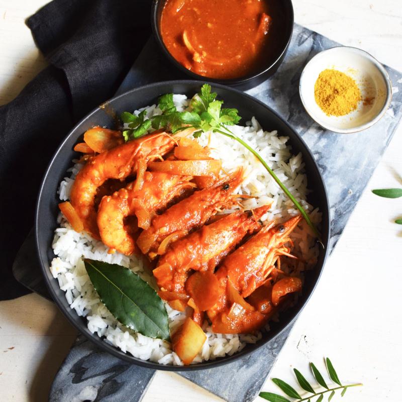 gambas au curry chaleur creole