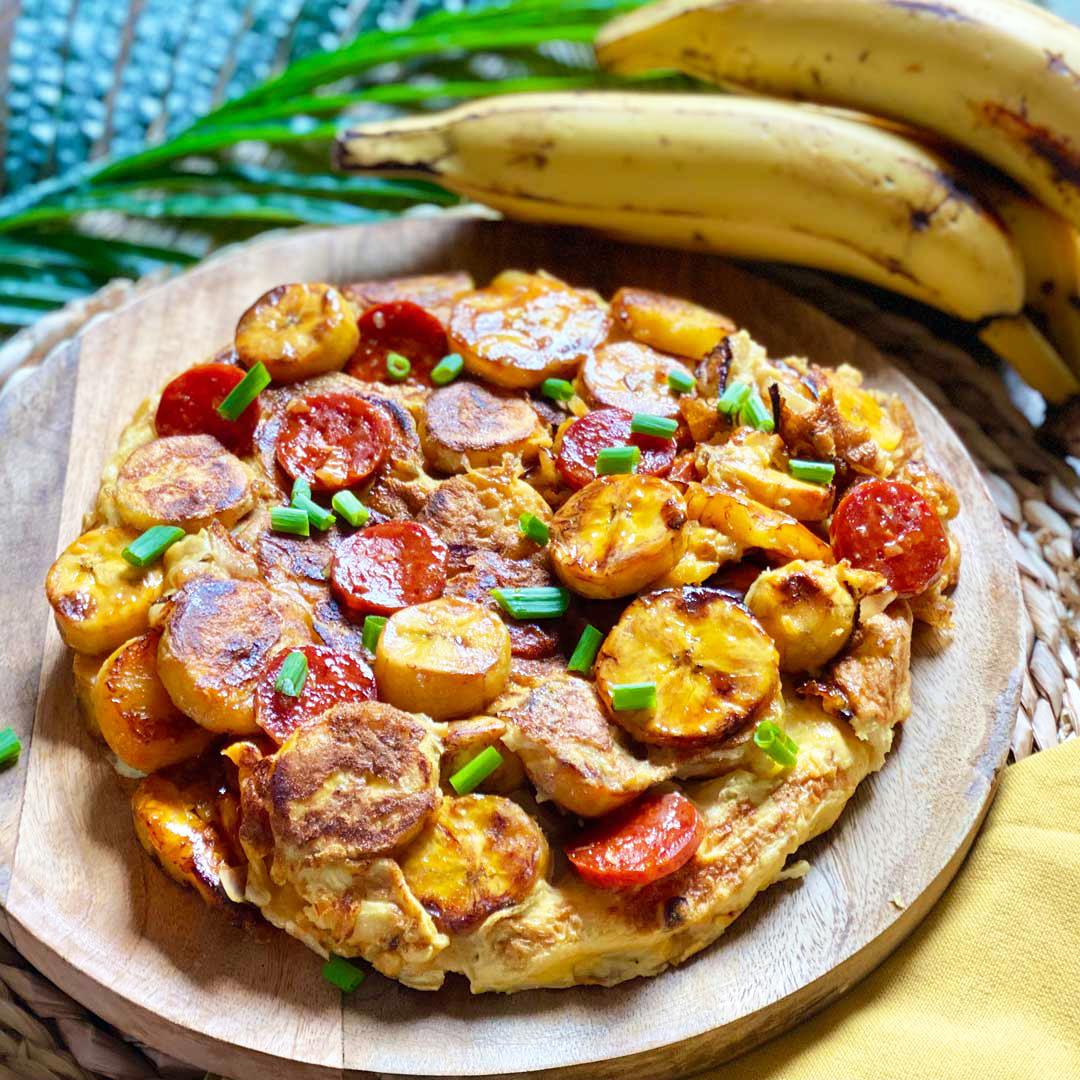 Photo plat Tortilla de banane plantain au chorizo