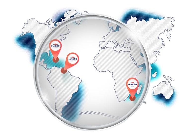 carte monde de la localisation des produitsMacéo