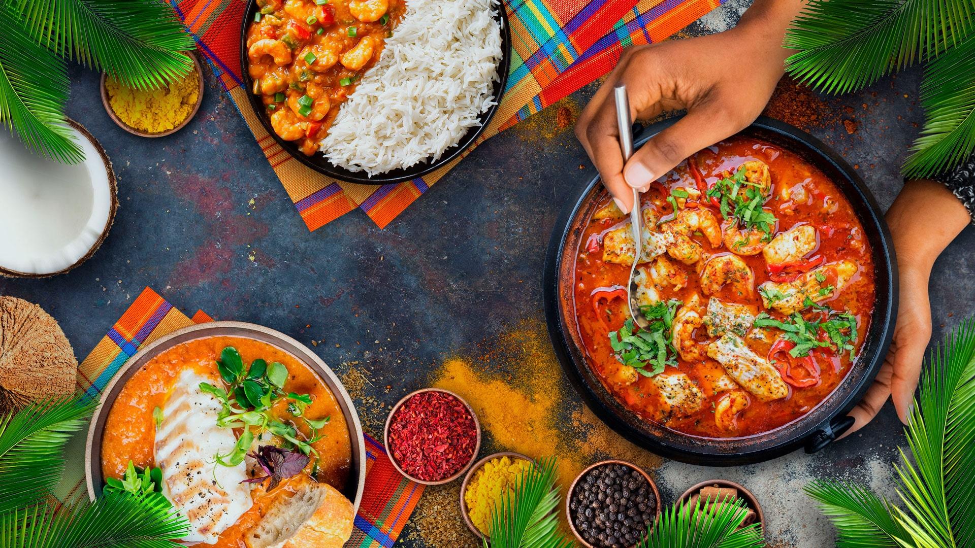 Slider page accueil sur Maceo groupe distributeur produits creole gastronomie épices et plats vue dessus