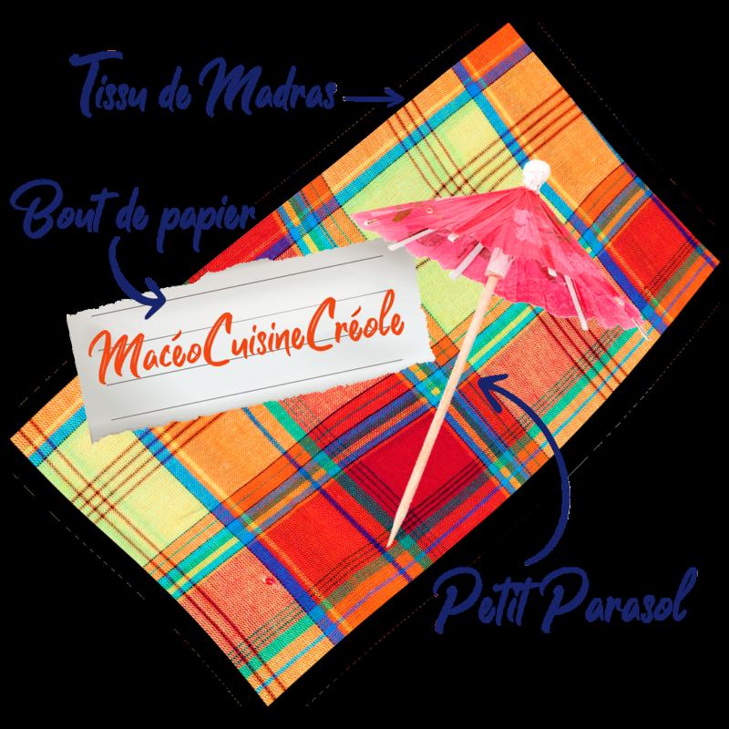 visuels tissu madras + mini parasol + bout de papier